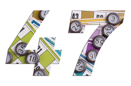 Number 47 with Lotto cards and game chips on white background