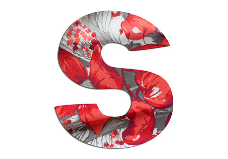 Letter S alphabet with floral fabric texture on white background Stockfoto