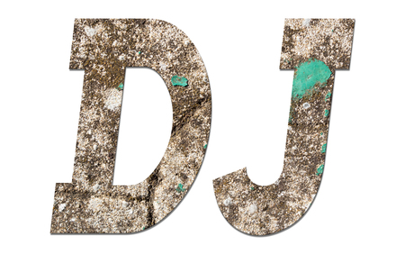 DJ word with old concrete wall on white background
