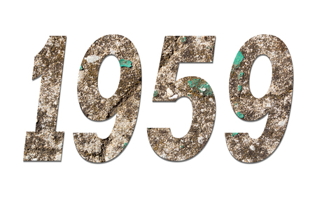 Year 1959 with old concrete wall on white background