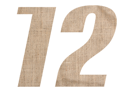 Number 12 with burlap texture on white background