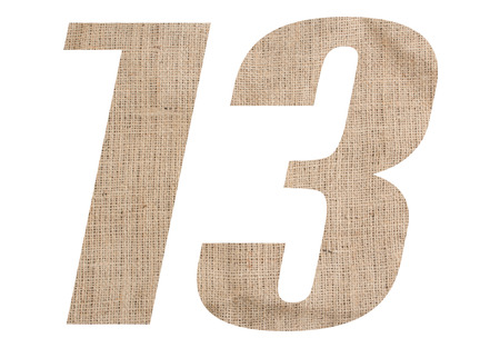Number 13 with burlap texture on white background