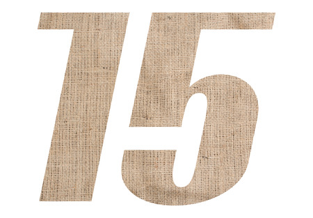Number 15 with burlap texture on white background