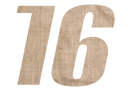 Number 16 with burlap texture on white background Stock Photo