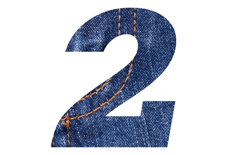 Number 2 with Blue jeans texture on white background