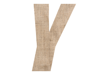 Letter Y with burlap texture on white background Stock Photo