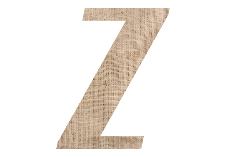 Letter Z with burlap texture on white background Stock Photo