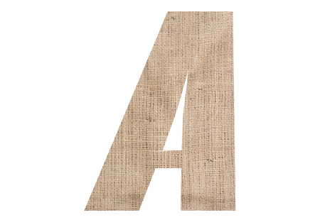 Letter A with burlap texture on white background Stock Photo