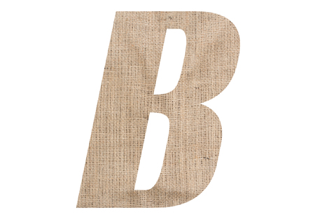Letter B with burlap texture on white background
