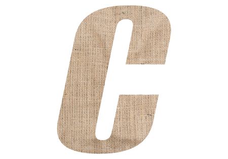Letter C with burlap texture on white background Stock Photo