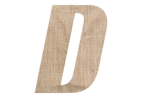 Letter D with burlap texture on white background Stock Photo