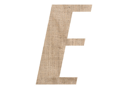 Letter E with burlap texture on white background