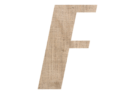 Letter F with burlap texture on white background