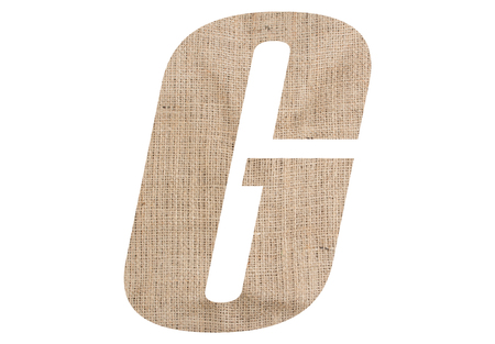 Letter G with burlap texture on white background