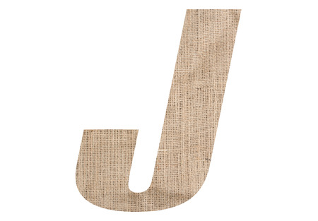 Letter J with burlap texture on white background