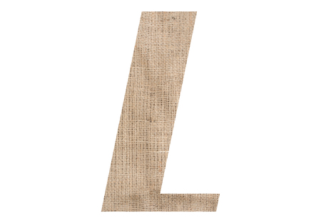 Letter L with burlap texture on white background