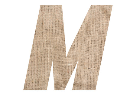 Letter M with burlap texture on white background