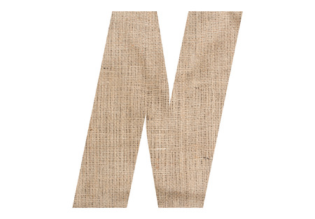 Letter N with burlap texture on white background