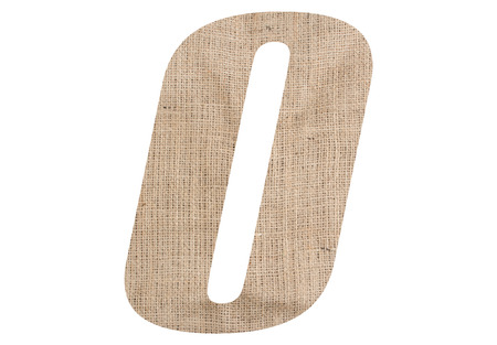 Letter O with burlap texture on white background Stock Photo