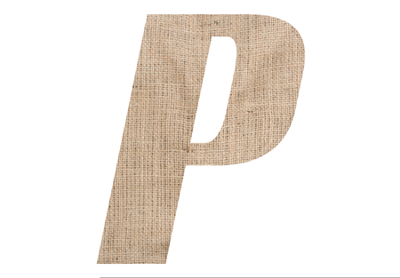 Letter P with burlap texture on white background