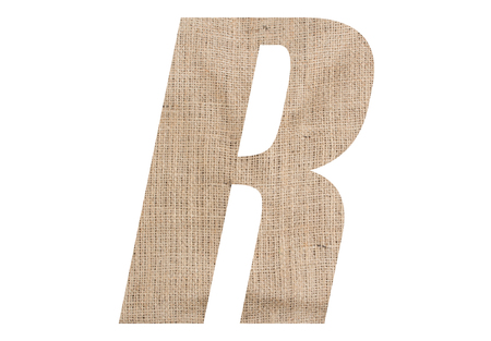 Letter R with burlap texture on white background Stock Photo