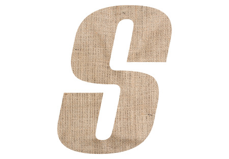 Letter S with burlap texture on white background Stock Photo