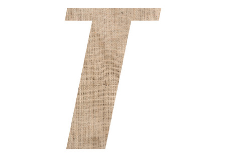 Letter T with burlap texture on white background Stock Photo