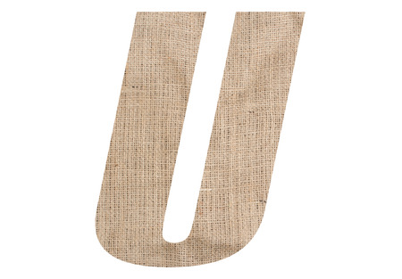 Letter U with burlap texture on white background