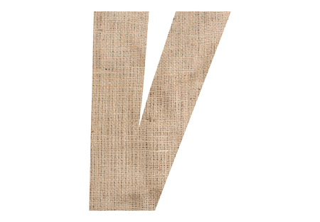 Letter V with burlap texture on white background