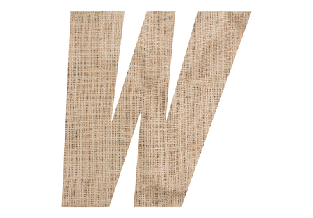 Letter W with burlap texture on white background Stock Photo