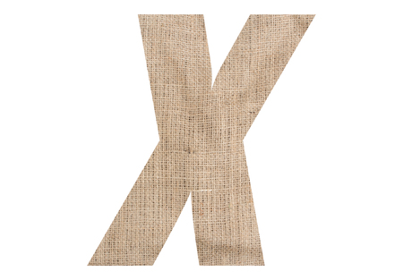 Letter X with burlap texture on white background Stock Photo