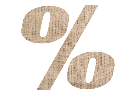 Percent symbol with burlap texture on white background
