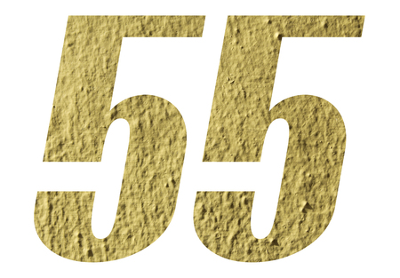 Number 55 with yellow wall on white background Stock Photo