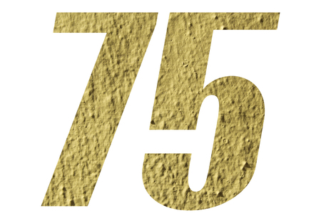 Number 75 with yellow wall on white background Stock Photo