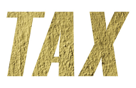 TAX word with yellow wall on white background