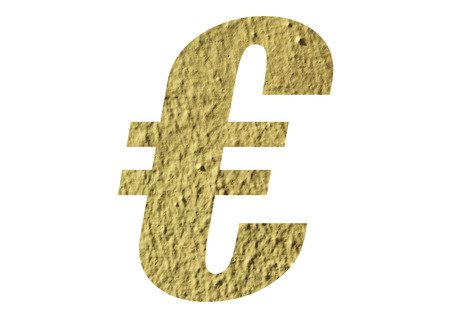 Euro Symbol with yellow wall on white background
