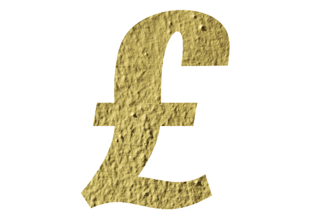 Pound Symbol with yellow wall on white background