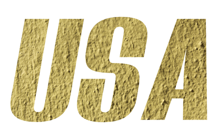 USA word with yellow wall textured on white background
