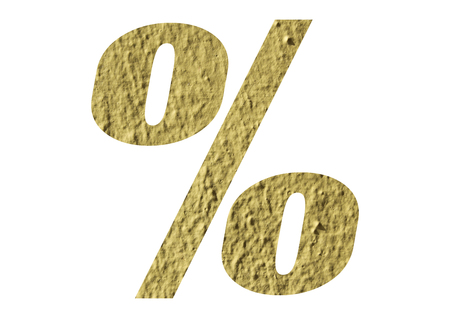 Percent Sign,percentage with yellow wall textured on white background Stock Photo