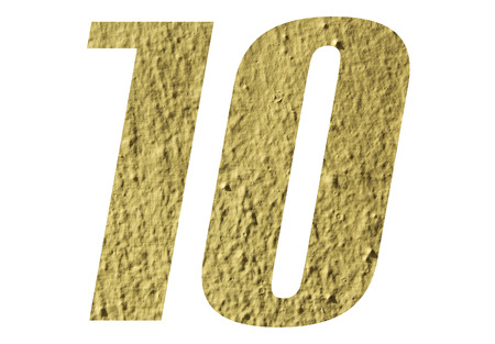 Number 10 with yellow wall on white background Stock Photo