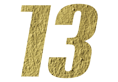 Number 13 with yellow wall on white background