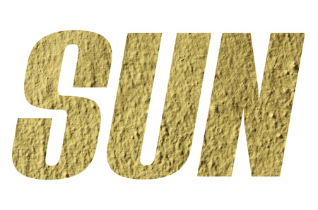 SUN word with yellow wall textured on white background