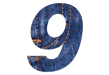 Number 9 with Blue jeans texture on white background