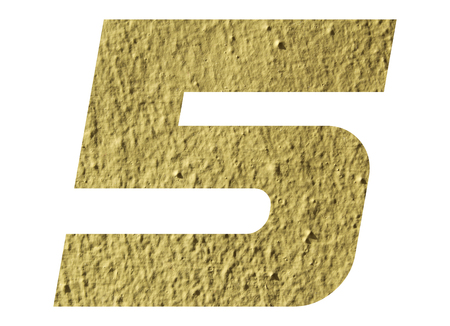 Number 5 with yellow wall on white background Stock Photo