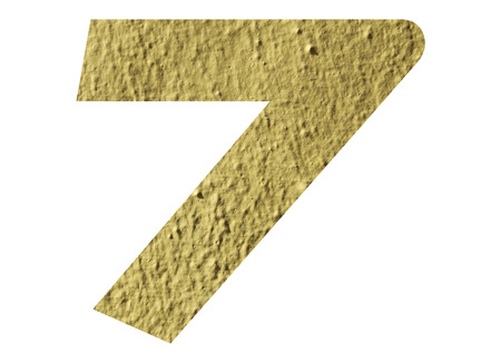 Number 7 with yellow wall texture Stock Photo