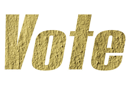 Vote word with yellow wall textured on white background