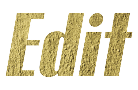 Edit word with yellow wall textured on white background