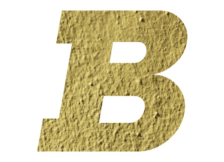 Letter B alphabet  with yellow wall on white background