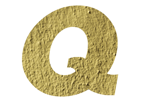 Letter Q alphabet  with yellow wall on white background Stockfoto