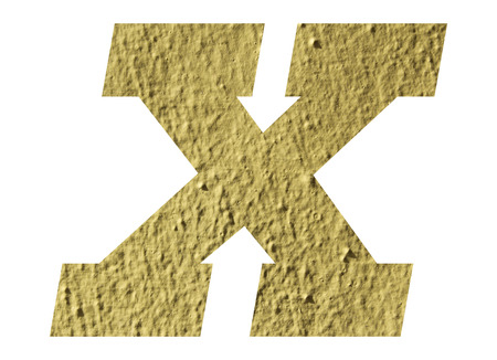 Letter X alphabet  with yellow wall on white background